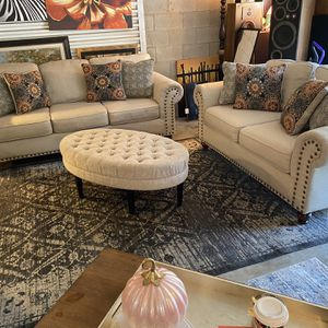 Nailhead Sofa & Loveseat From Rooms To Go😍COMFORTABLE-NOT Selling Separate-NOT Selling Other Items*😊 for Sale in Raleigh, NC