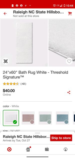 Bath rug white for Sale in Brentwood, NC