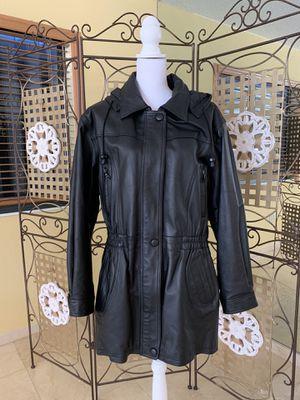 WOMEN'S GENUINE LEATHER HOODED PARKA JACKET SIZE XL for Sale in Hialeah, FL