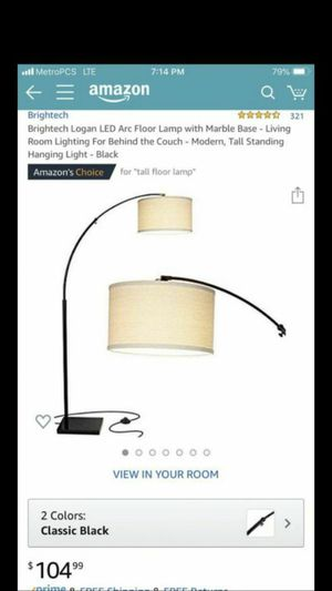 Brightech Logan LED Arc Floor Lamp with Marble Base - Living Room Lighting For Behind the Couch - Modern, Tall Standing Hanging Light - Black for Sale in Norwalk, CA