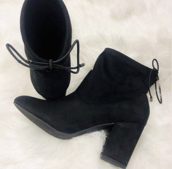 Black suede ankle boots booties Sizes 6 and 10