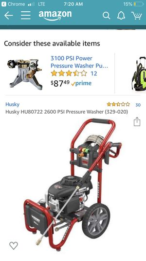 Husky pressure washer no hoses or squirter for Sale in Redwood City, CA