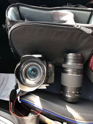 Canon T7i with carrying bag 18-55mm lens and 75-300mm lens for Sale in Silver Spring, MD