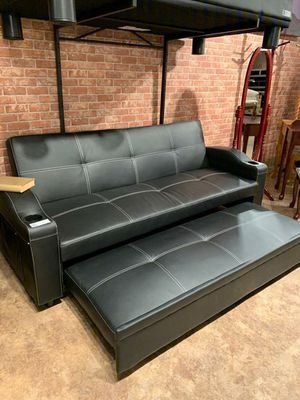 $39 Down Payment Best DEAL 🍾 Easton Futon Sofa Bed with Cup Holders 56 for Sale in Jessup, MD