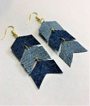 Chevron Denim Dangle upcycled Earring for Sale in Peoria, IL