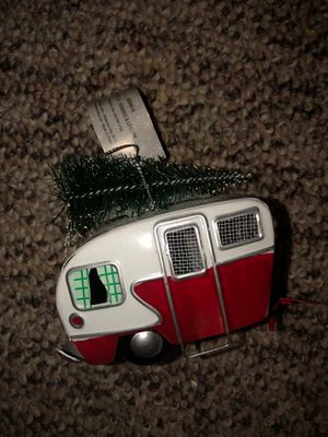 Red and White Camper or RV with a Christmas Tree on top, decoration or ornament for Sale in Plainfield, IL
