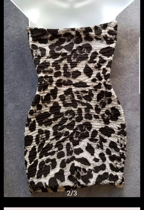 Sexy black and gray leopard print dress or top size large like new