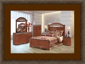 11pc Ashley Cherry bedroom set free mattress and delivery for Sale in Ashburn, VA