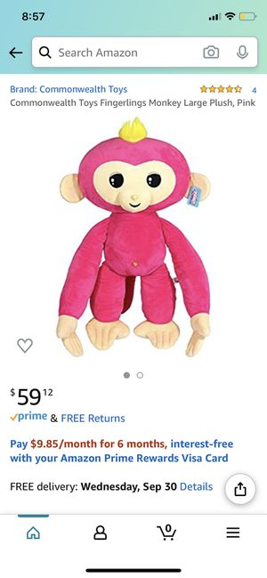 Commonwealth Toys Fingerlings Monkey Large Plush, Pink for Sale in Darnestown, MD