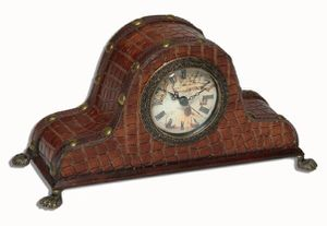 Clock - Faux Croc with Old World Map Face for Desk, Shelf, Mantel for Sale in Grand Prairie, TX