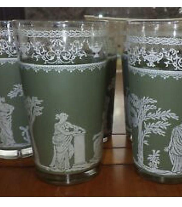 vintage Jasperware Greek glasses