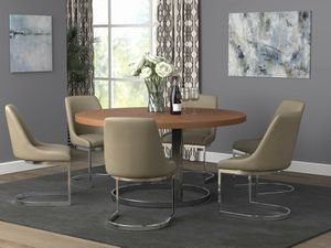 MID CENTURY MODERN 5 PIECE Round Dining Table Natural Cherry and Chrome for Sale in Fontana, CA