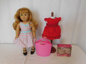 American Girl 18 In. Doll Maryellen Larkin Beforever , not original shoes, + Tote + Red Dress + Purse and Glass set new for Sale in Lake Elsinore, CA