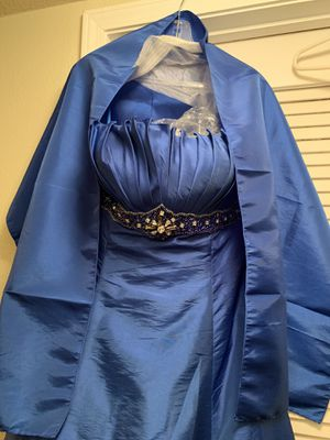 Beautiful royal blue formal hi low dress. Embellished with beads and crystals. Comes with matching shawl. Never worn. New with tags. for Sale in Riverside, CA