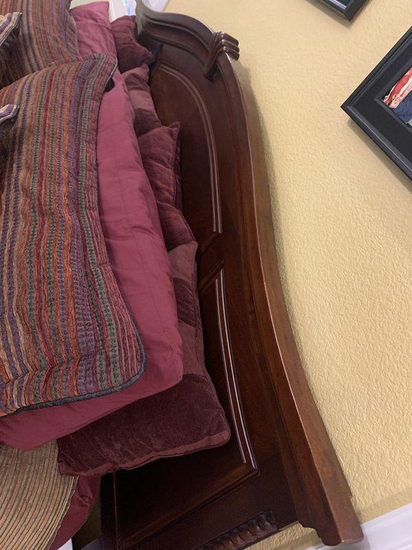 King size wooden bed frame. 2 side dressers