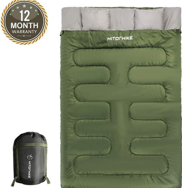 HITORHIKE Double Sleeping Bag with Pillows for Camping, Hiking, Traveling, Backpacking, Queen Size XL Lightweight 2 Person Sleeping Bag