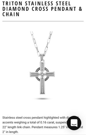 Triton stainless steel diamond cross pendant for Sale in Durham, NC