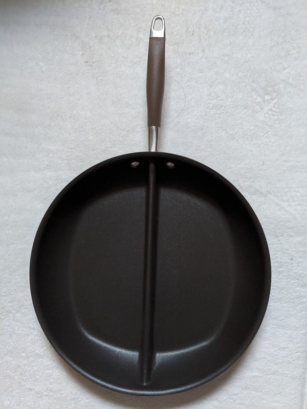 ANOLON ADVANCED BRONZE HARD-ANODIZED NONSTICK DIVIDED GRIDDLE SKILLET PAN, 12.5-INCH