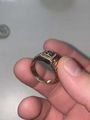 Solid 14k gold ring with natural diamonds and sapphires size 7.5 for Sale in Waterbury, CT