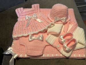 Crochet newborn Blanket, Hat, Sweater, Dress, Diaper cover and shoes for Sale in Philadelphia, PA