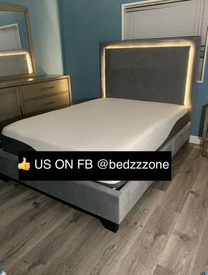 New Bed Frame with LED Light Trim : Twin / Full / Queen / King / Cal King : Mattress Set Sold Separately - No Box Spring Required for Sale in Oakland, CA