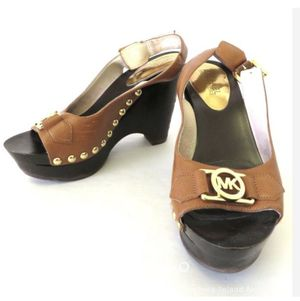 Michael Kors Leather Peep Toe Strappy Platform Heels Size 6 M Gold Logo Wedge for Sale in Milwaukie, OR