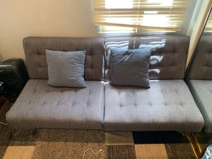 Grey IKEA foldable futon couch for Sale in Los Angeles, CA