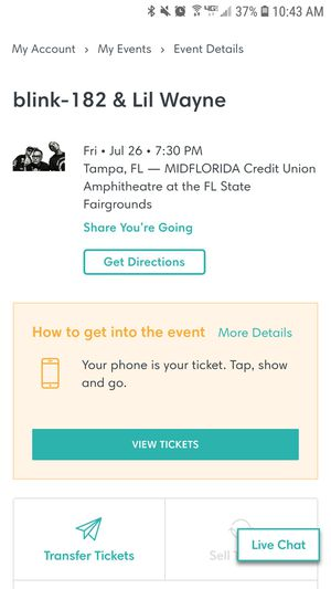 Blink 182 and Lil Wayne lawn seats for Sale in Tampa, FL