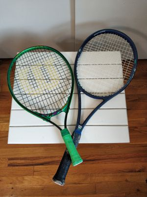 Two Wilson tennis rackets, adult and youth/ juniors size for Sale in Saint James, NY