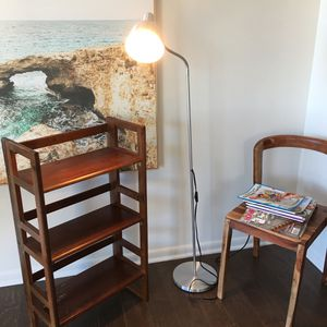 Brown crate & Barrel folding bookshelves with an IKEA lamp - $35 for Sale in Falls Church, VA