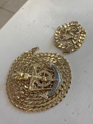14k gold 8mm cuban set with diamond charm for Sale in Tampa, FL