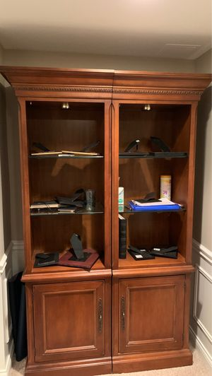 Two wooden book ends with glass shelves for Sale in Naperville, IL