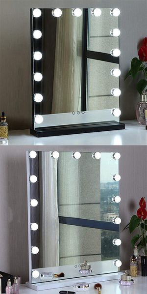 """New in box $110 Vanity Mirror w/ 15 Dimmable LED Light Bulbs Beauty Makeup 16x20"""" (White or Black) for Sale in Whittier, CA"""