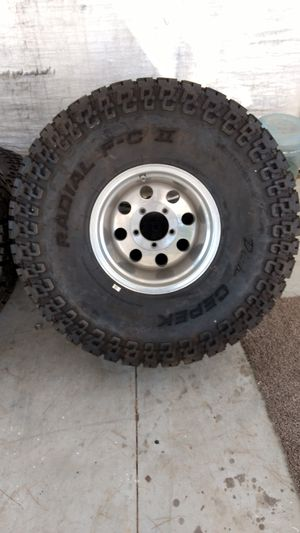 New 38 inch tires on 12 inch wide wheels ford jeep dodge 5 lug for Sale in Corona, CA