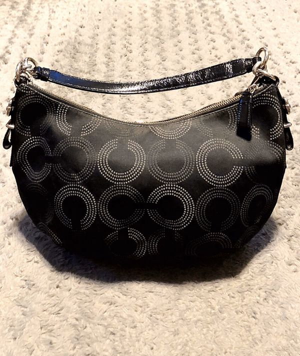 Coach Madison Dotted Op Art Hobo paid $298 Like New! No signs of weather. 100% Authentic. Excellent condition! Black Satin material with C print desi