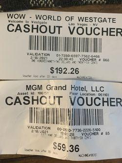 Cash voucher - Las Vegas for Sale in Simi Valley,  CA