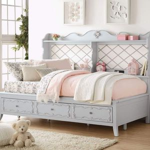 SHABBY CHIC GRAY FINISH FULL SIZE BED STORAGE DRAWERS USB PORT SHELVING - CAMA for Sale in Downey, CA