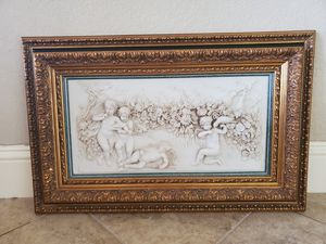 Antique cherubs sculpture with beautiful wood frame for Sale in Tampa, FL
