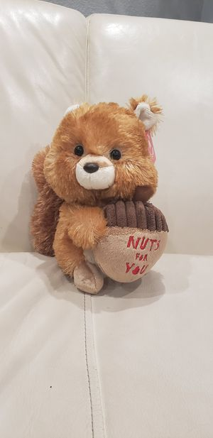 """Nuts for you Valentine's day squirrel animal 8"""" tall cute stuffed animal with an acorn. Very soft material. Brand new with tag. for Sale in Ontario, CA"""