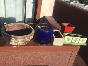 Ceramic and stone plant holders plant potters for Sale in San Diego, CA