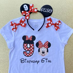 Personalized Red Polkadot Minnie Mouse Ninth (9th) Birthday Shirt & Headband Ears for Sale in Long Beach, CA