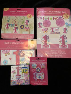 Baby girl first birthday party supplies for Sale in Ontario, CA