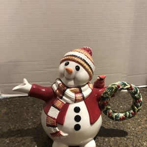 """Fitz and Floyd Woodland Snowman Teapot 8"""" Tall for Sale in Manassas, VA"""