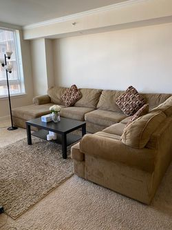 Comfy couch, table and the carpet for Sale in Fairfax,  VA