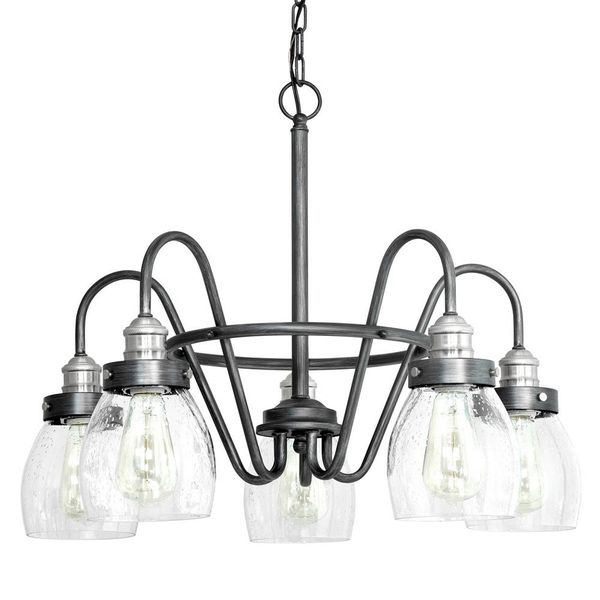 5-Light Rustic Pewter Chandelier with Brushed Nickel Accents and Clear Seeded Glass. Brand New!