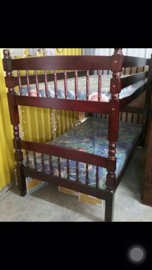 TWIN/TWIN CHERRY COLOR BUNK BED WITH 2 MATTRESSES NEW for Sale in Austin, TX