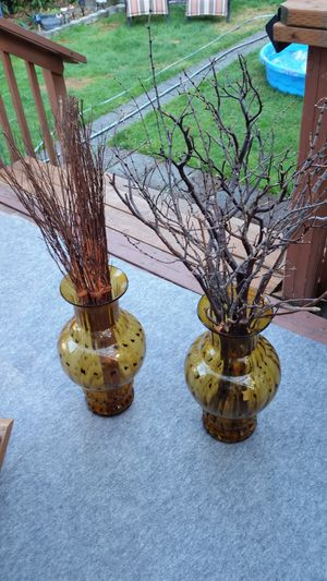 Large antique glass floor vases with decor for Sale in Tacoma, WA