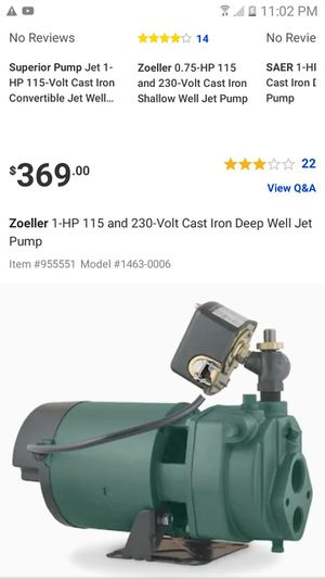 Zoeller deep well pump for Sale in Piedmont, SC