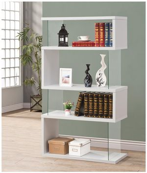 BRAND NEW TEMPERED GLASS WHITE BOOK CASE AVAILABLE IN BLACK AND WHITE for Sale in Antioch, CA