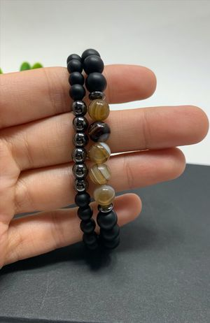 2pcs Adjustable Frosted Natural Stone Beads Bracelet Energy Stone Agate Beads Bracelet for Sale in Irvine, CA